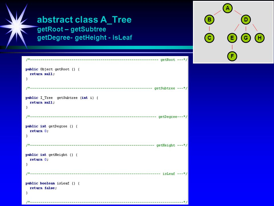 abstract class A_Tree getRoot – getSubtree getDegree- getHeight - isLeaf A BD CEGH F