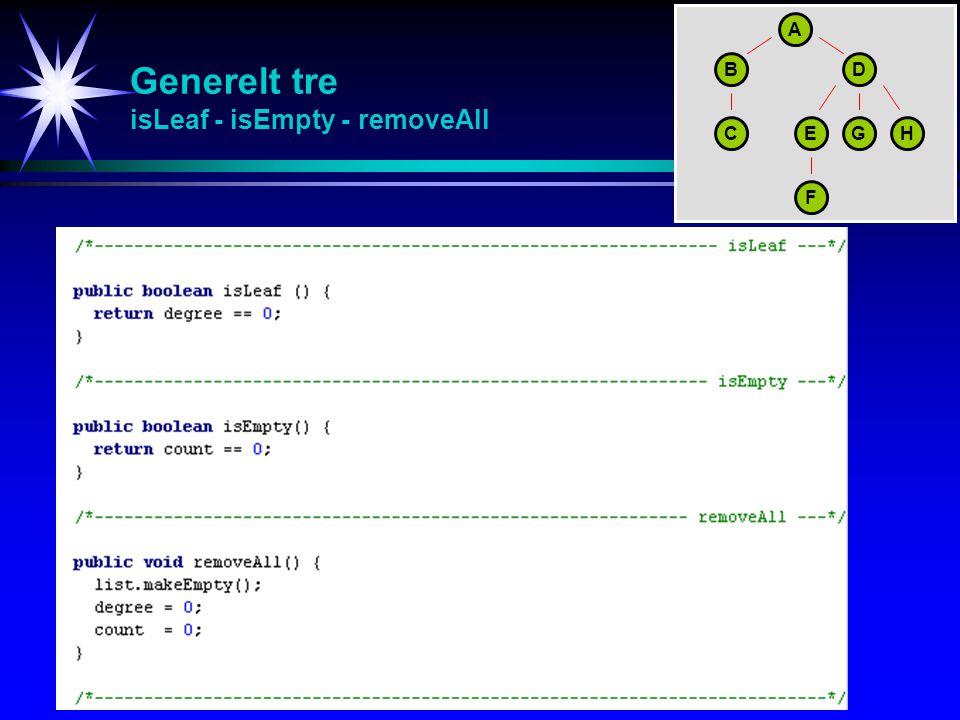 Generelt tre isLeaf - isEmpty - removeAll A BD CEGH F
