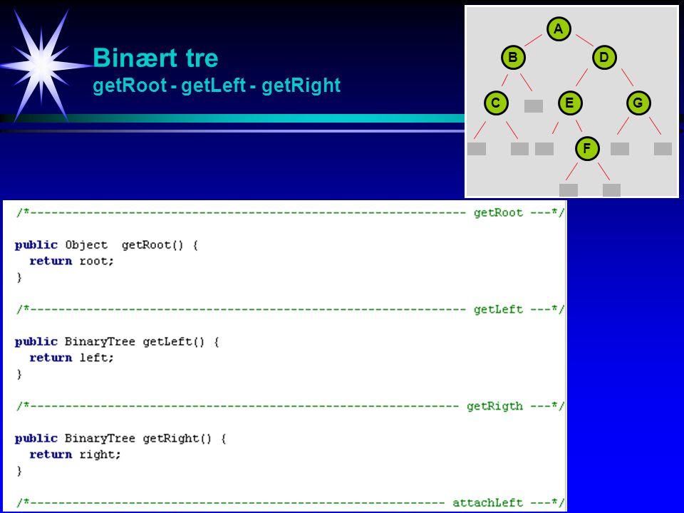 Binært tre getRoot - getLeft - getRight A BD CEG F