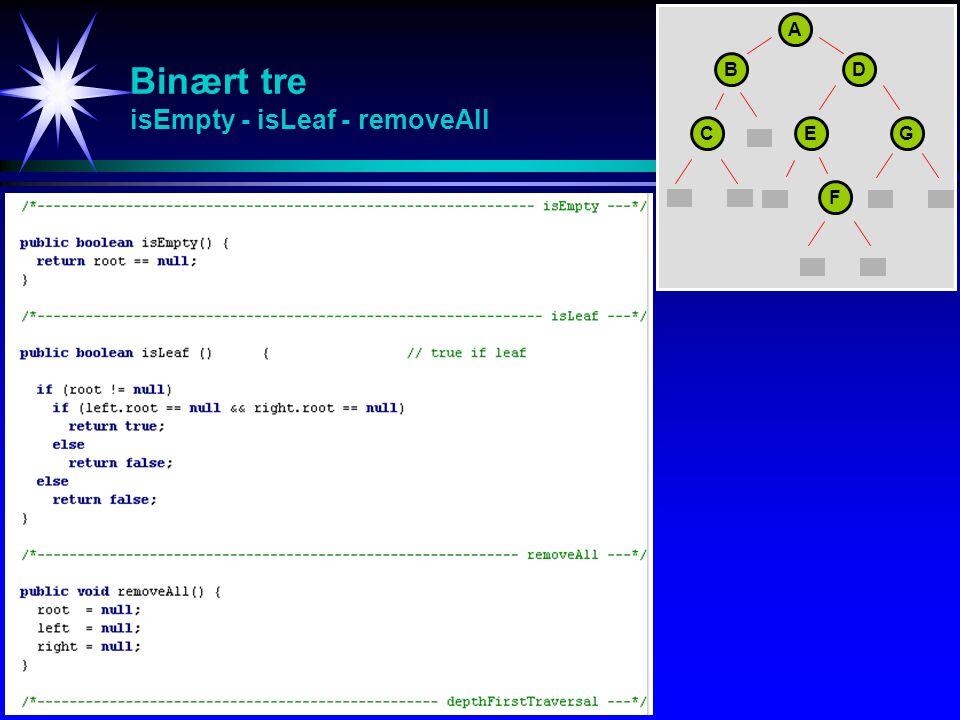 Binært tre isEmpty - isLeaf - removeAll A BD CEG F