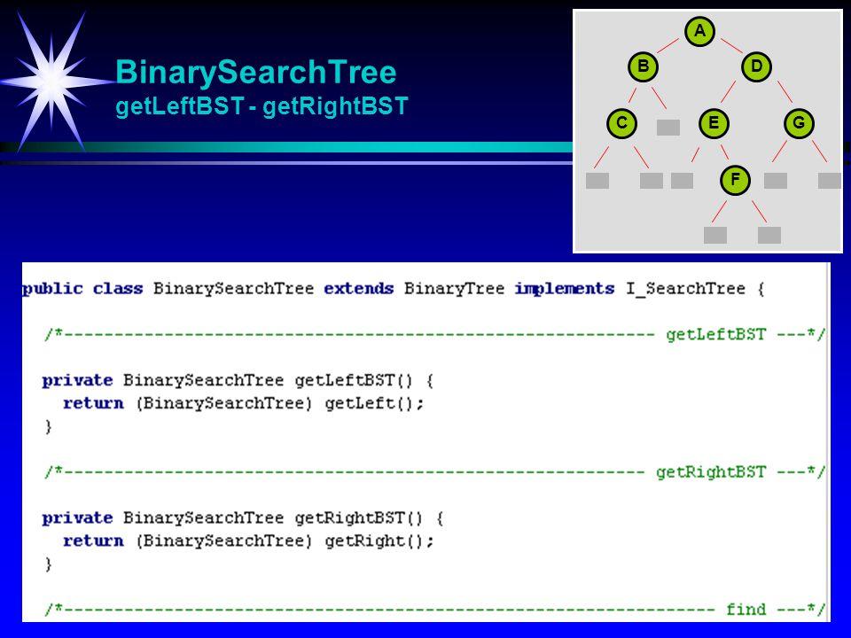 BinarySearchTree getLeftBST - getRightBST A BD CEG F
