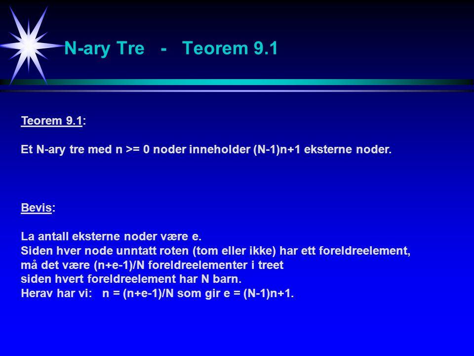 N-ary Tre - Teorem 9.1 Teorem 9.1: Et N-ary tre med n >= 0 noder inneholder (N-1)n+1 eksterne noder. Bevis: La antall eksterne noder være e. Siden hve