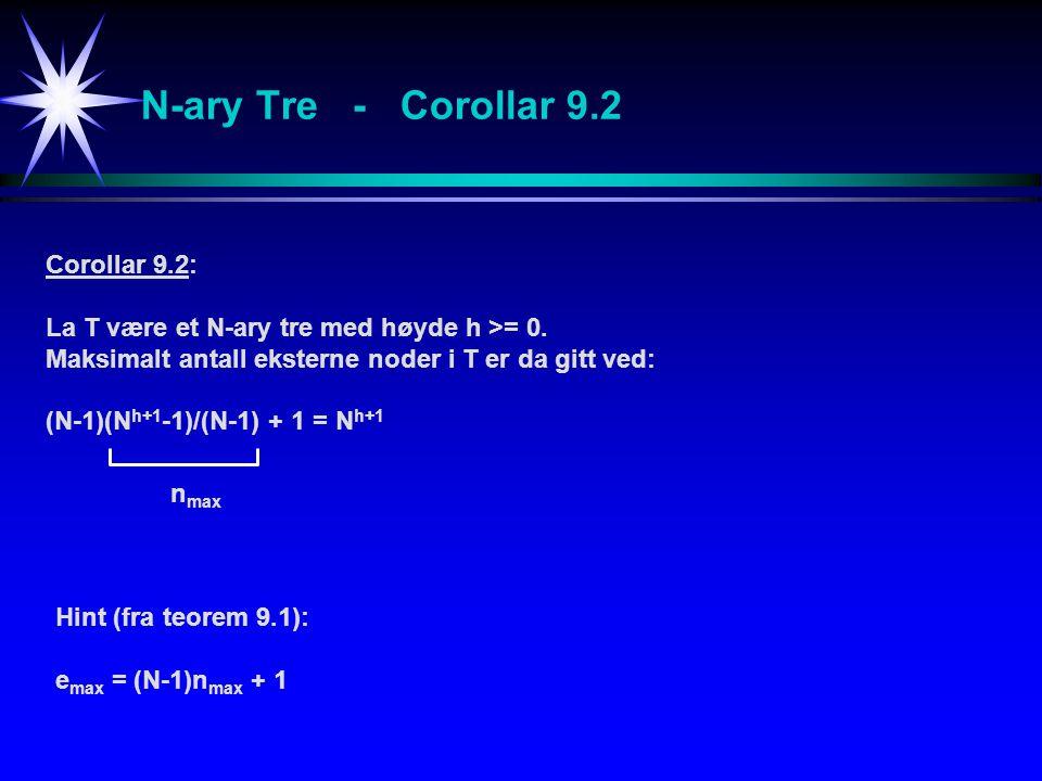 N-ary Tre - Corollar 9.2 Corollar 9.2: La T være et N-ary tre med høyde h >= 0. Maksimalt antall eksterne noder i T er da gitt ved: (N-1)(N h+1 -1)/(N
