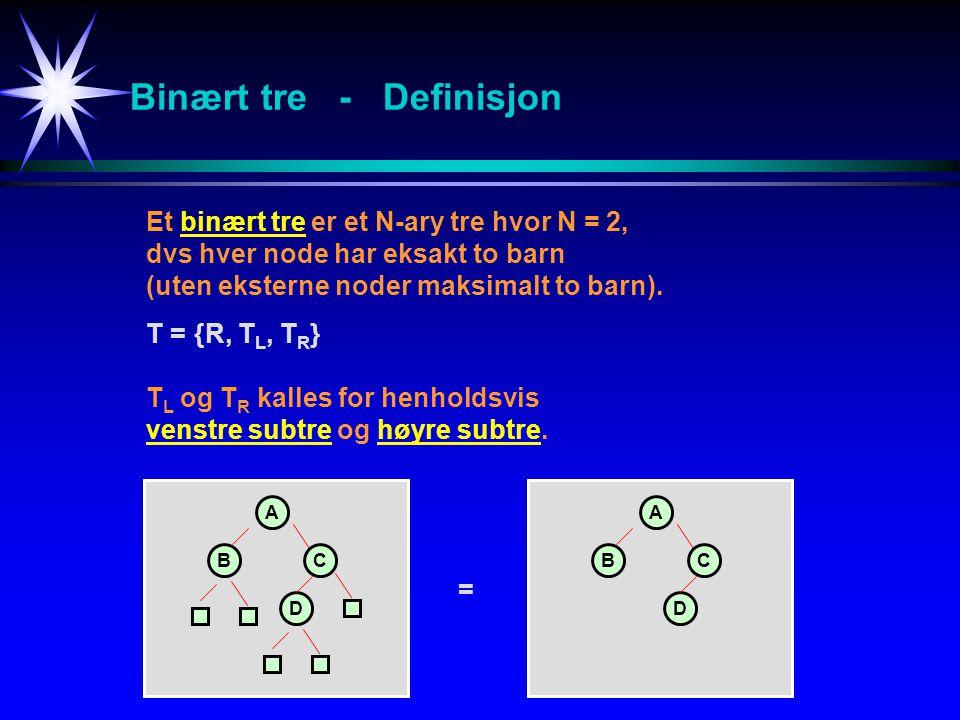 Binært tre - Definisjon Et binært tre er et N-ary tre hvor N = 2, dvs hver node har eksakt to barn (uten eksterne noder maksimalt to barn). T ={R, T L