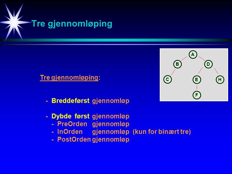 Tre gjennomløping Tre gjennomløping: -Breddeførstgjennomløp -Dybde førstgjennomløp -PreOrden gjennomløp -InOrdengjennomløp(kun for binært tre) -PostOr
