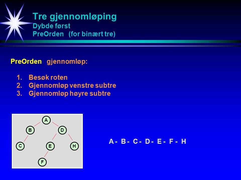 Tre gjennomløping Dybde først PreOrden (for binært tre) PreOrdengjennomløp: 1.Besøk roten 2.Gjennomløp venstre subtre 3.Gjennomløp høyre subtre A-B-C-D-E-F-HA-B-C-D-E-F-H A BD C EH F