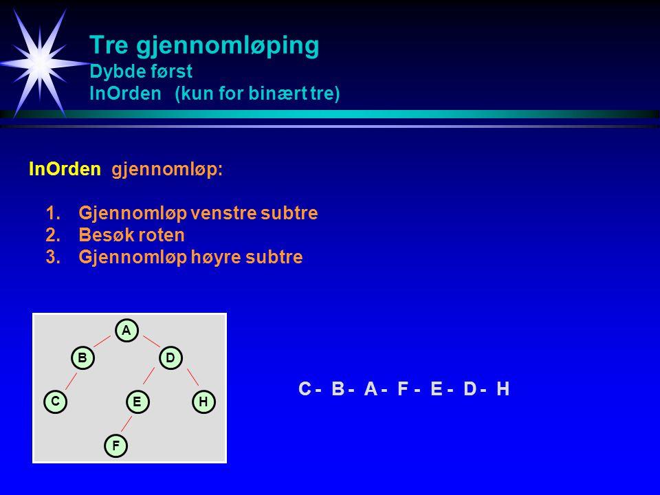Tre gjennomløping Dybde først InOrden (kun for binært tre) InOrdengjennomløp: 1.Gjennomløp venstre subtre 2.Besøk roten 3.Gjennomløp høyre subtre C-B-A-F-E-D-HC-B-A-F-E-D-H A BD C EH F