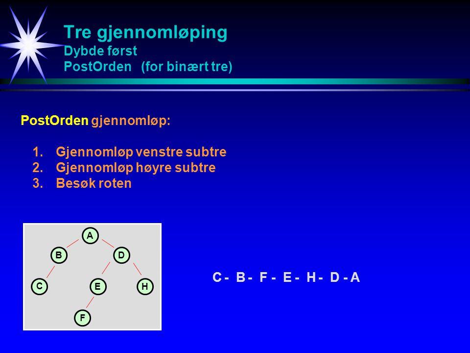 Tre gjennomløping Dybde først PostOrden (for binært tre) PostOrdengjennomløp: 1.Gjennomløp venstre subtre 2.Gjennomløp høyre subtre 3.Besøk roten A BD C EH C-B-F-E-H-D - A F