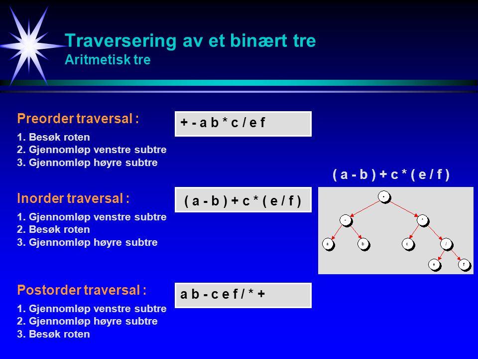 Traversering av et binært tre Aritmetisk tre ( a - b ) + c * ( e / f ) Inorder traversal : 1.Gjennomløp venstre subtre 2.Besøk roten 3.Gjennomløp høyre subtre Preorder traversal : 1.Besøk roten 2.Gjennomløp venstre subtre 3.Gjennomløp høyre subtre Postorder traversal : 1.Gjennomløp venstre subtre 2.Gjennomløp høyre subtre 3.Besøk roten ( a - b ) + c * ( e / f ) + - a b * c / e f a b - c e f / * +