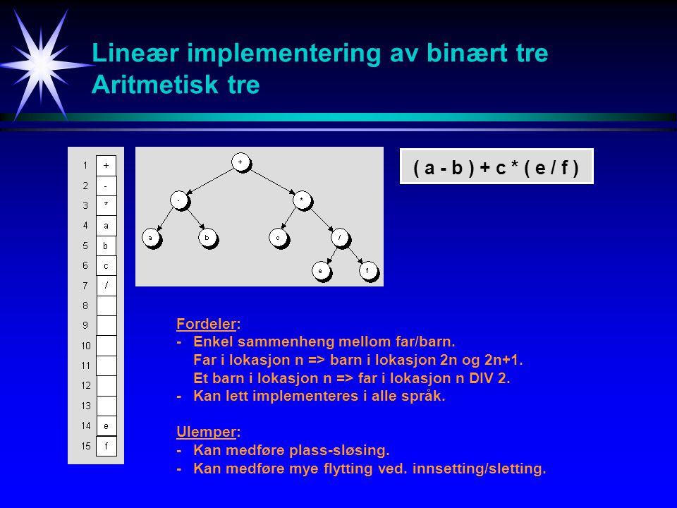 Lineær implementering av binært tre Aritmetisk tre ( a - b ) + c * ( e / f ) Fordeler: -Enkel sammenheng mellom far/barn. Far i lokasjon n => barn i l