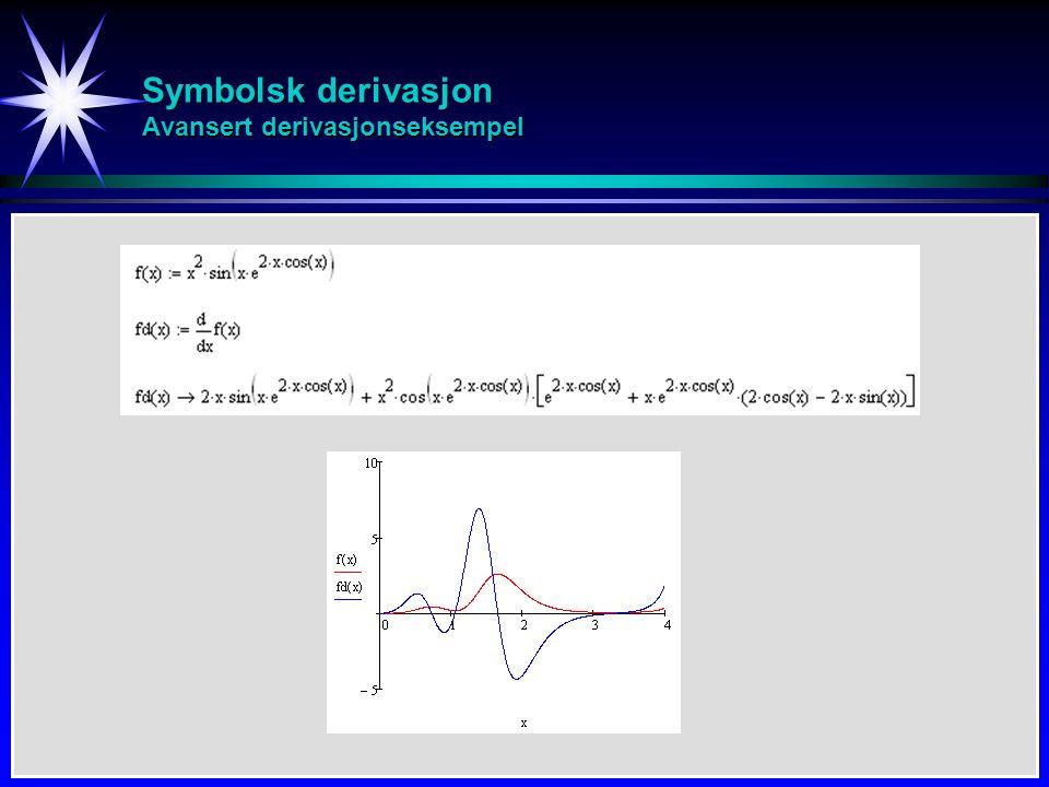 Symbolsk derivasjon Avansert derivasjonseksempel