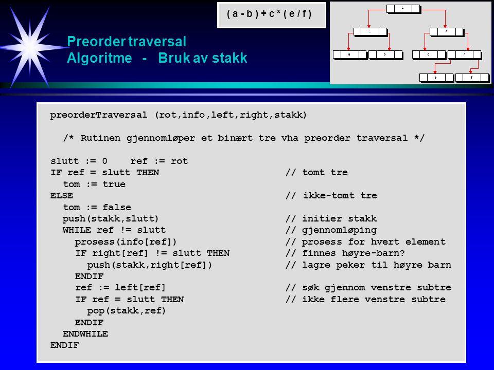 Preorder traversal Algoritme - Bruk av stakk ( a - b ) + c * ( e / f ) preorderTraversal (rot,info,left,right,stakk) /* Rutinen gjennomløper et binært tre vha preorder traversal */ slutt := 0 ref := rot IF ref = slutt THEN// tomt tre tom := true ELSE// ikke-tomt tre tom := false push(stakk,slutt)// initier stakk WHILE ref != slutt // gjennomløping prosess(info[ref])// prosess for hvert element IF right[ref] != slutt THEN// finnes høyre-barn.