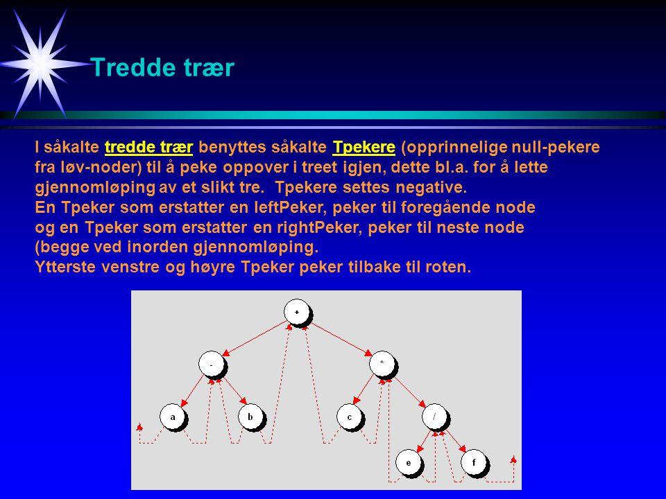 Tredde trær I såkalte tredde trær benyttes såkalte Tpekere (opprinnelige null-pekere fra løv-noder) til å peke oppover i treet igjen, dette bl.a. for