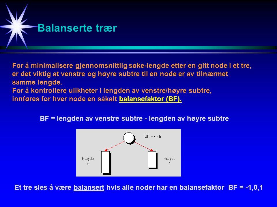 Balanserte trær For å minimalisere gjennomsnittlig søke-lengde etter en gitt node i et tre, er det viktig at venstre og høyre subtre til en node er av tilnærmet samme lengde.