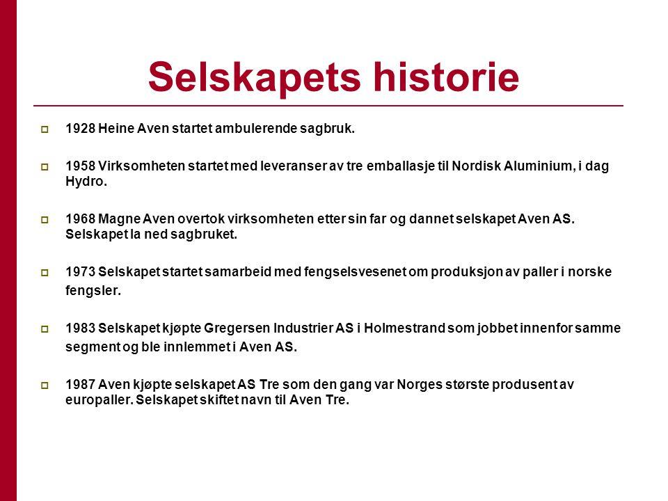 Selskapets historie  1928 Heine Aven startet ambulerende sagbruk.  1958 Virksomheten startet med leveranser av tre emballasje til Nordisk Aluminium,