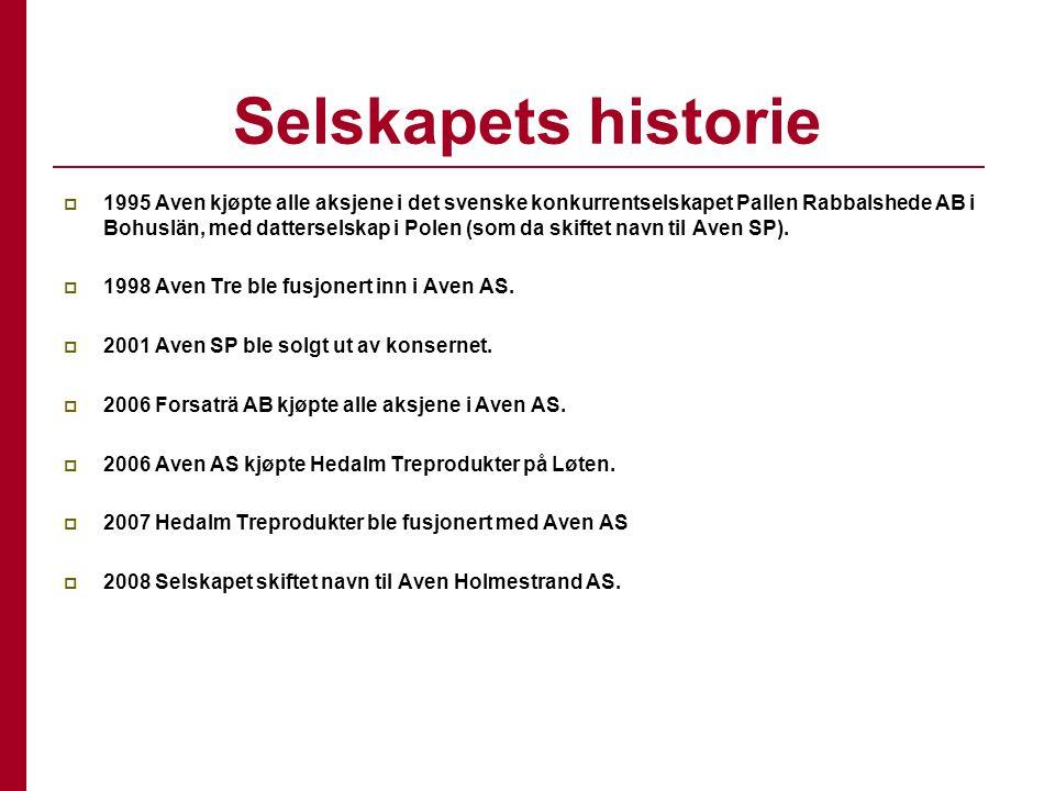 Selskapets historie  1995 Aven kjøpte alle aksjene i det svenske konkurrentselskapet Pallen Rabbalshede AB i Bohuslän, med datterselskap i Polen (som