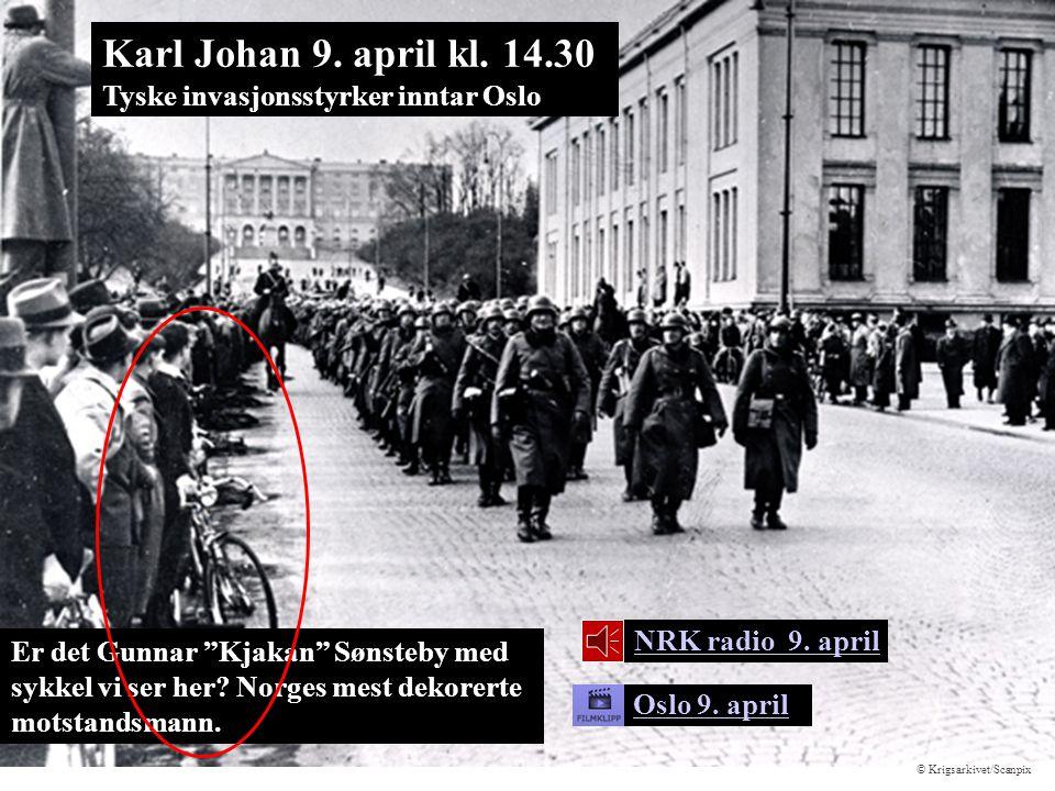 """Er det Gunnar """"Kjakan"""" Sønsteby med sykkel vi ser her? Norges mest dekorerte motstandsmann. Oslo 9. april Karl Johan 9. april kl. 14.30 Tyske invasjon"""