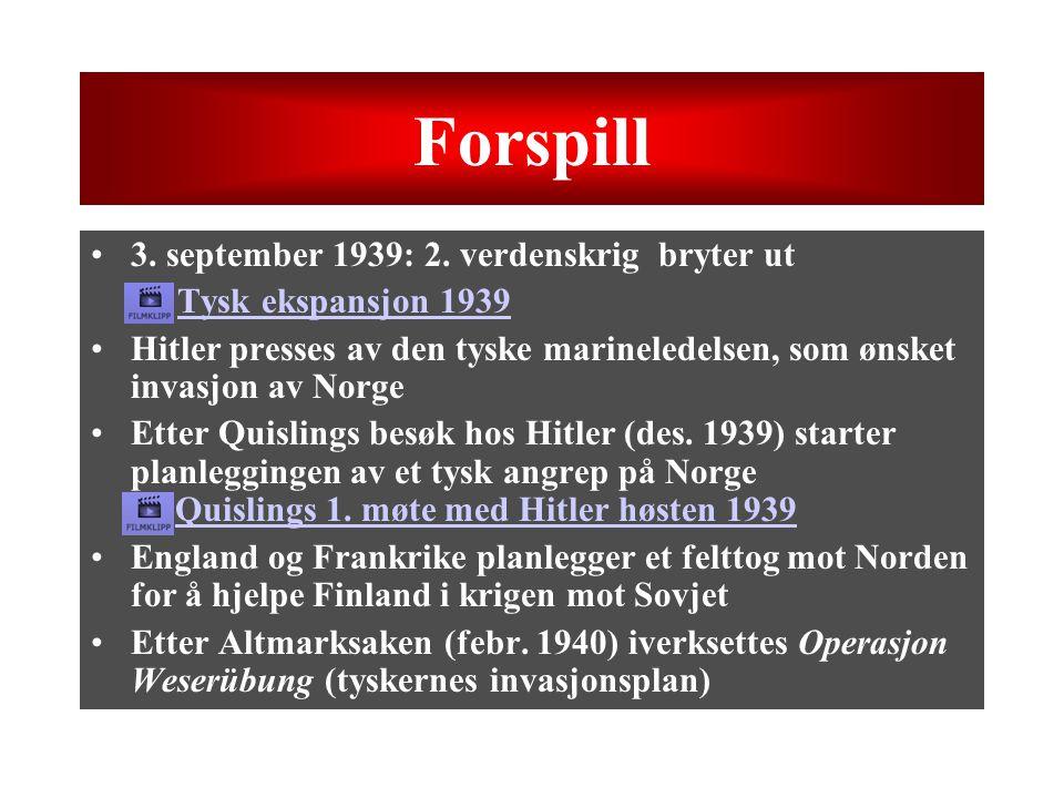 Forspill 3. september 1939: 2. verdenskrig bryter ut –Tysk ekspansjon 1939Tysk ekspansjon 1939 Hitler presses av den tyske marineledelsen, som ønsket