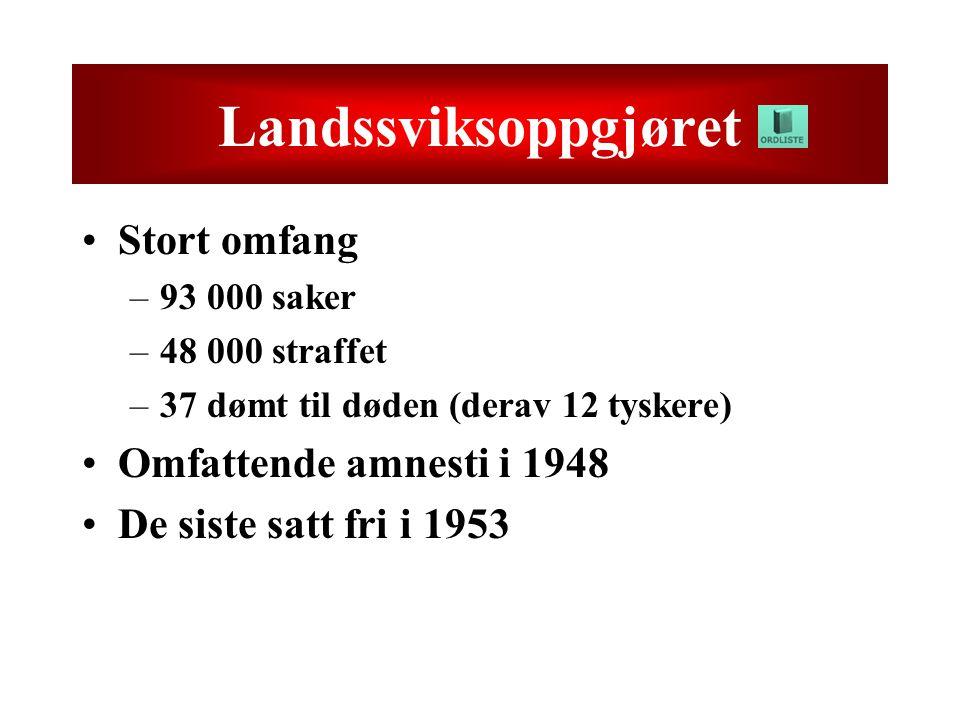 Landssviksoppgjøret Stort omfang –93 000 saker –48 000 straffet –37 dømt til døden (derav 12 tyskere) Omfattende amnesti i 1948 De siste satt fri i 1953