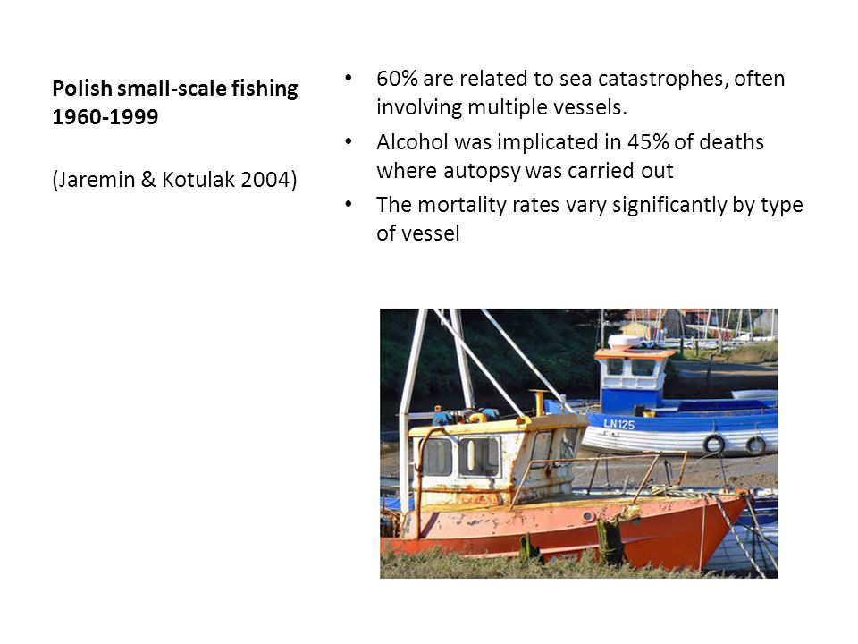 Polish small-scale fishing 1960-1999 60% are related to sea catastrophes, often involving multiple vessels.