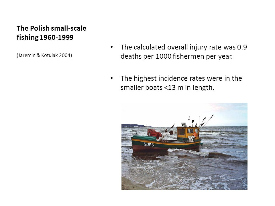 The Polish small-scale fishing 1960-1999 The calculated overall injury rate was 0.9 deaths per 1000 fishermen per year.