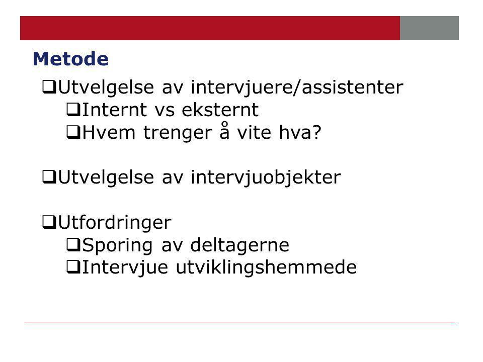 Metode  Utvelgelse av intervjuere/assistenter  Internt vs eksternt  Hvem trenger å vite hva.