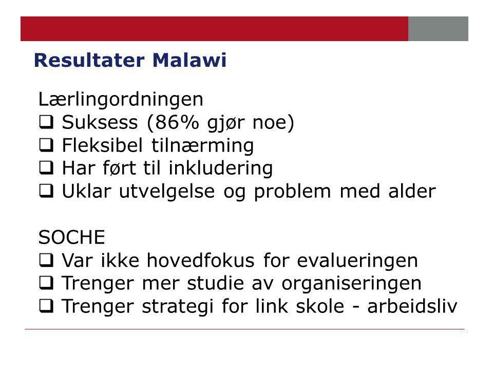 Resultater Malawi Lærlingordningen  Suksess (86% gjør noe)  Fleksibel tilnærming  Har ført til inkludering  Uklar utvelgelse og problem med alder SOCHE  Var ikke hovedfokus for evalueringen  Trenger mer studie av organiseringen  Trenger strategi for link skole - arbeidsliv