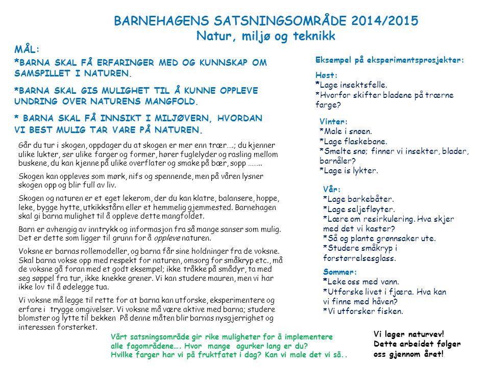 BARNEHAGENS SATSNINGSOMRÅDE 2014/2015 Natur, miljø og teknikk MÅL: * BARNA SKAL FÅ ERFARINGER MED OG KUNNSKAP OM SAMSPILLET I NATUREN. *BARNA SKAL GIS