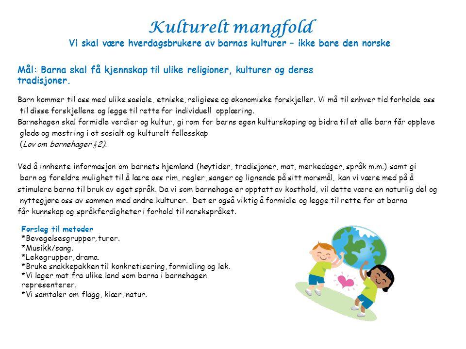 Kulturelt mangfold Vi skal være hverdagsbrukere av barnas kulturer – ikke bare den norske Barn kommer til oss med ulike sosiale, etniske, religiøse og