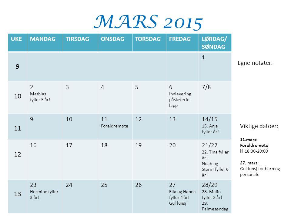 MARS 2015 UKEMANDAGTIRSDAGONSDAGTORSDAGFREDAGLØRDAG/ SØNDAG 9 1 10 2 Mathias fyller 5 år! 3456 Innlevering påskeferie- lapp 7/8 11 91011 Foreldremøte