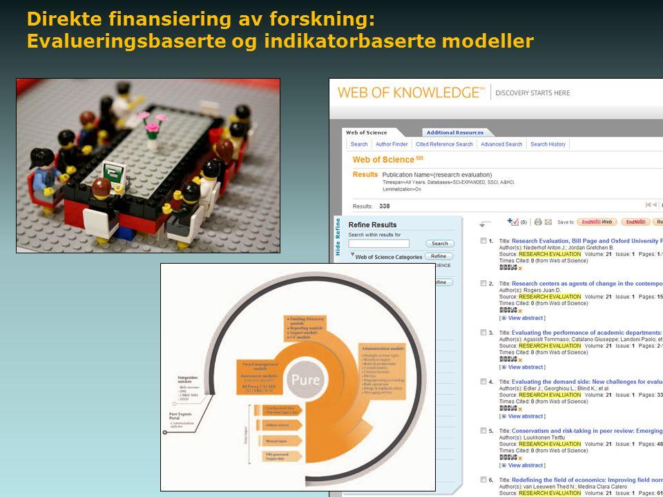 Direkte finansiering av forskning: Evalueringsbaserte og indikatorbaserte modeller