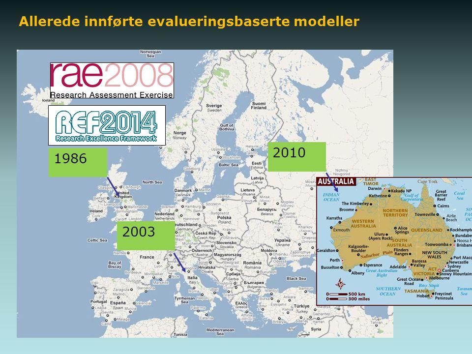 Allerede innførte evalueringsbaserte modeller 1986 2003 2010