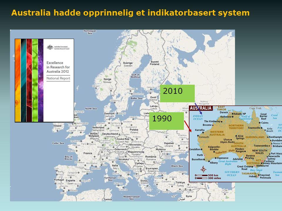 Australia hadde opprinnelig et indikatorbasert system 2010 1990