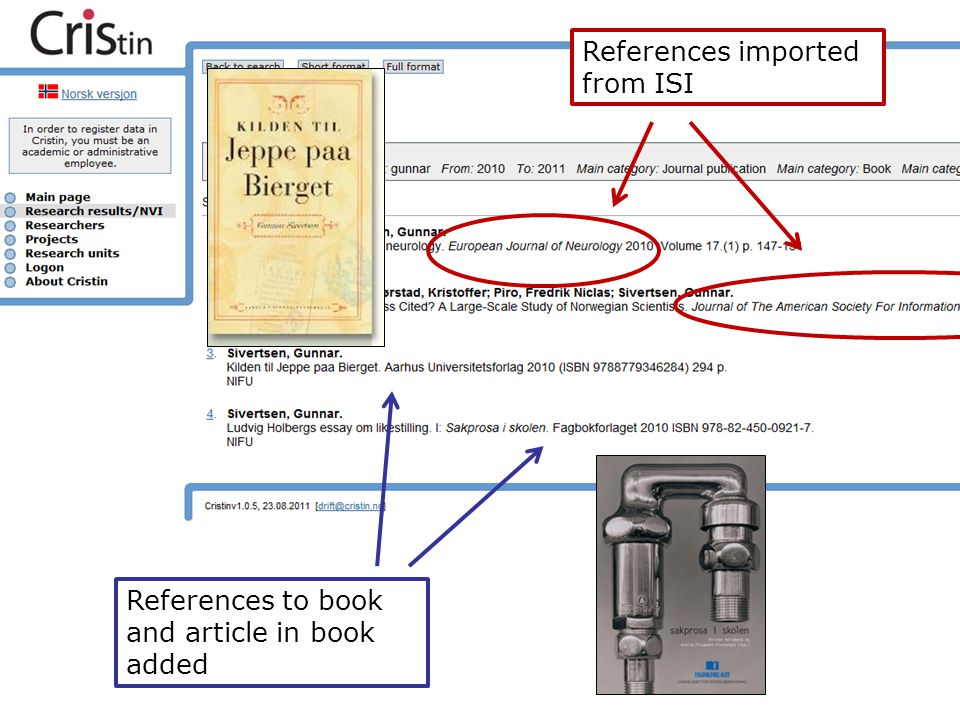 References imported from ISI References to book and article in book added