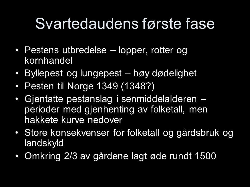Svartedaudens første fase Pestens utbredelse – lopper, rotter og kornhandel Byllepest og lungepest – høy dødelighet Pesten til Norge 1349 (1348?) Gjen