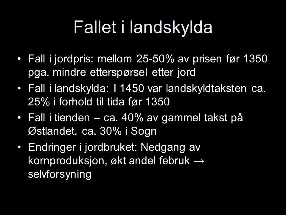 Fallet i landskylda Fall i jordpris: mellom 25-50% av prisen før 1350 pga. mindre etterspørsel etter jord Fall i landskylda: I 1450 var landskyldtakst