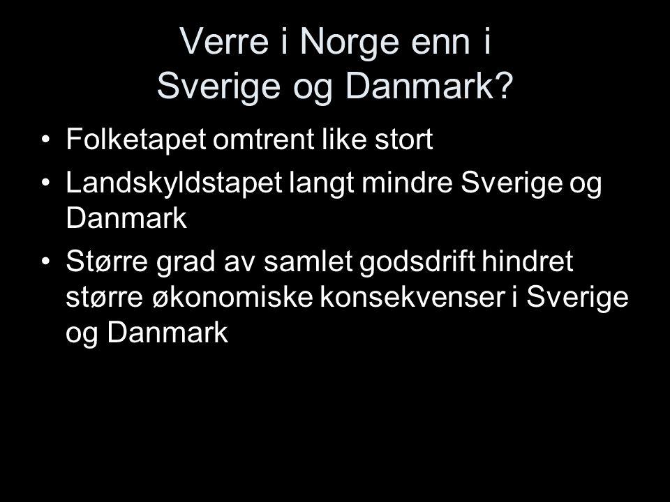 Verre i Norge enn i Sverige og Danmark? Folketapet omtrent like stort Landskyldstapet langt mindre Sverige og Danmark Større grad av samlet godsdrift