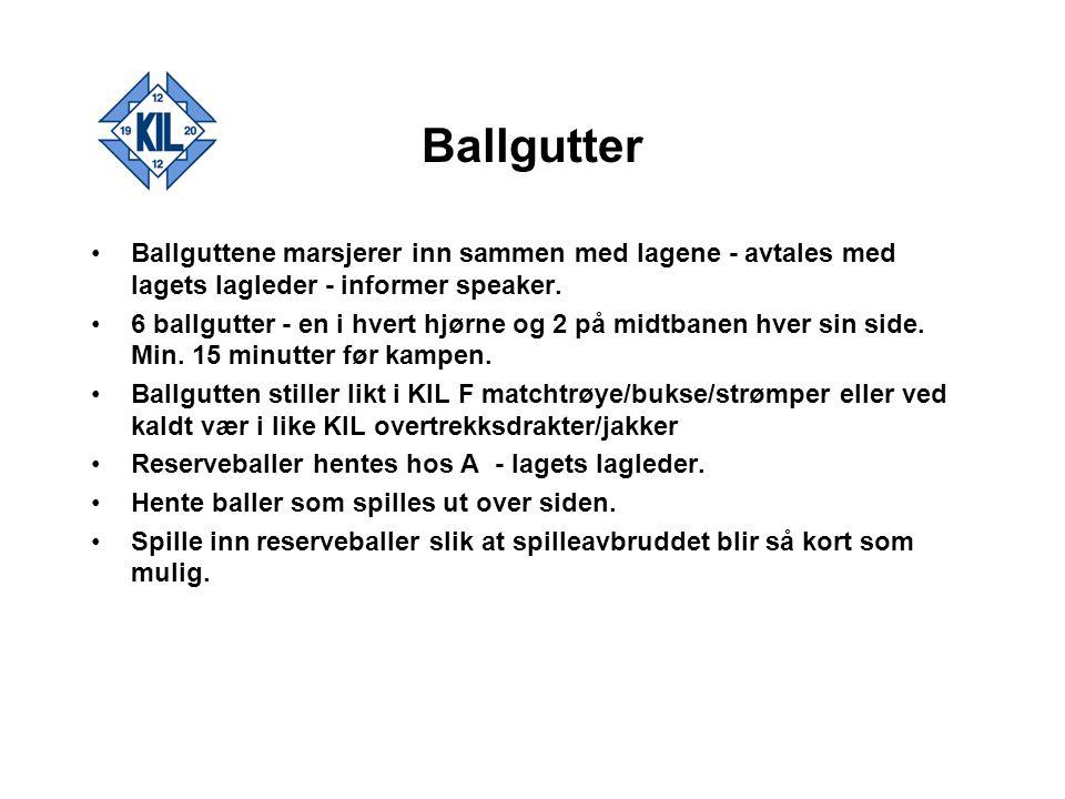 Ballgutter Ballguttene marsjerer inn sammen med lagene - avtales med lagets lagleder - informer speaker. 6 ballgutter - en i hvert hjørne og 2 på midt