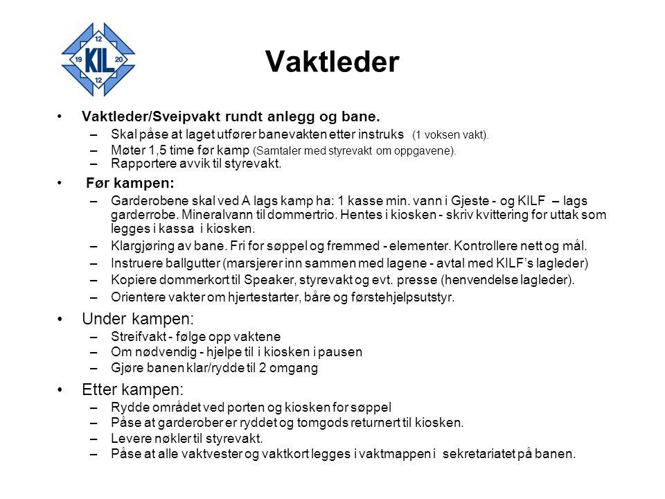 Vakt 1.Plassering banens nordre hjørne - midtbane Før kampen –Påse at banen er klarert for kamp.