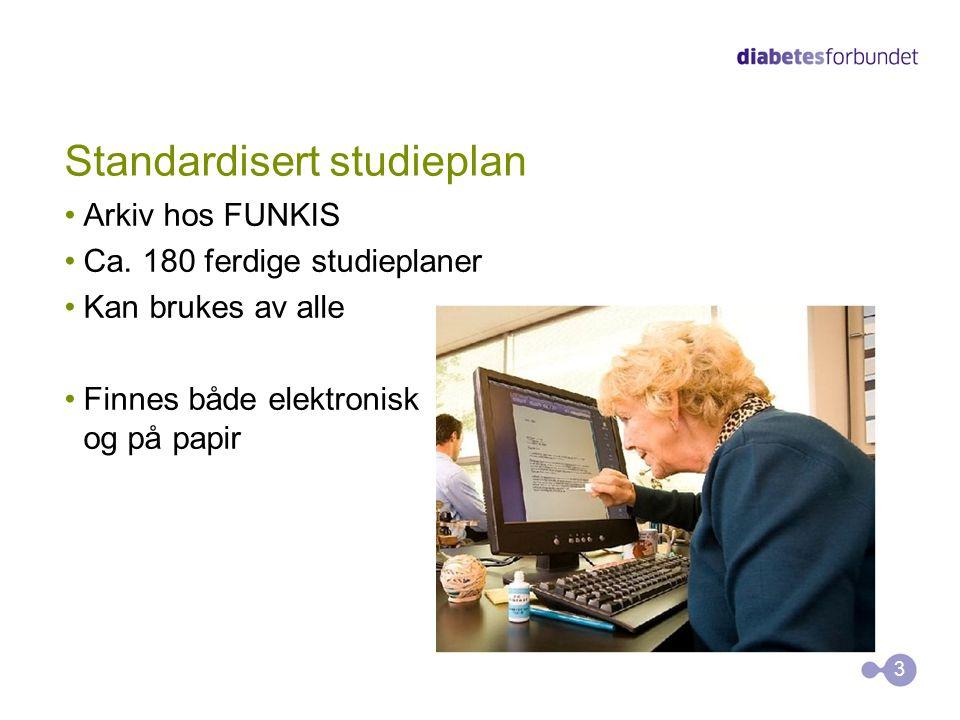 Standardisert studieplan Arkiv hos FUNKIS Ca. 180 ferdige studieplaner Kan brukes av alle Finnes både elektronisk og på papir 3