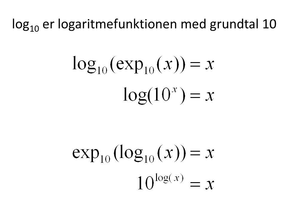 log 10 er logaritmefunktionen med grundtal 10