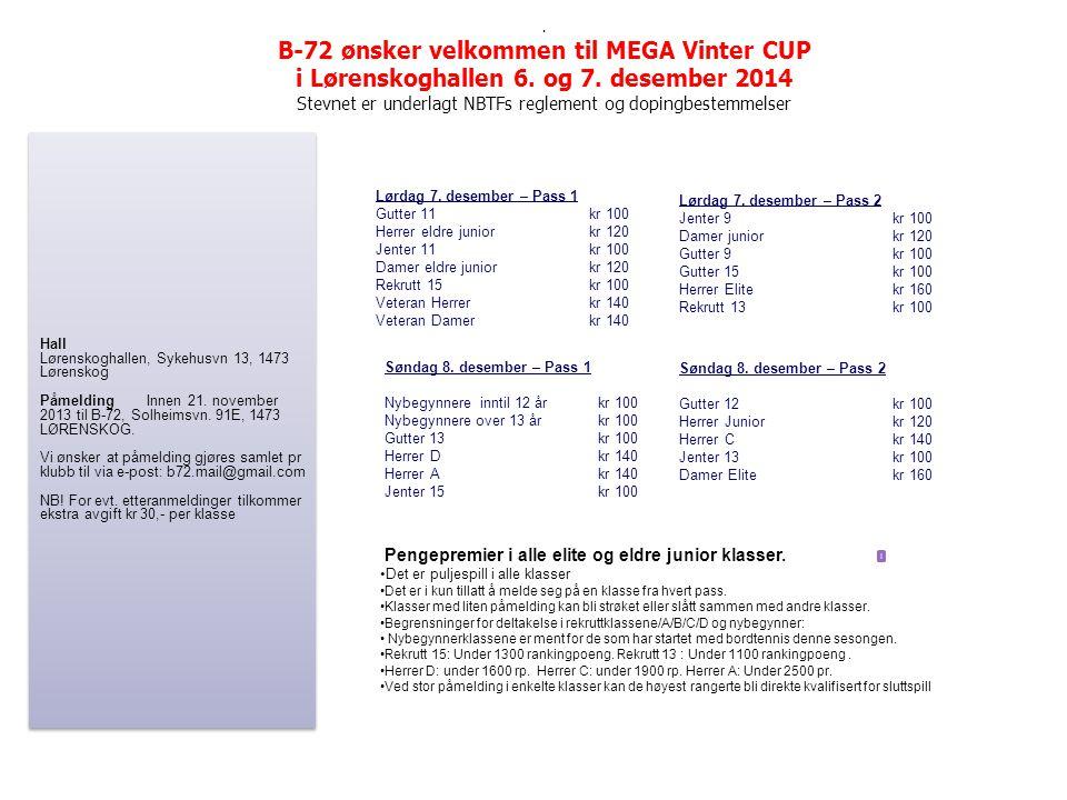 . B-72 ønsker velkommen til MEGA Vinter CUP i Lørenskoghallen 6. og 7. desember 2014 Stevnet er underlagt NBTFs reglement og dopingbestemmelser Lørdag