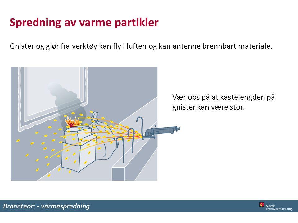 Spredning av varme partikler Gnister og glør fra verktøy kan fly i luften og kan antenne brennbart materiale.