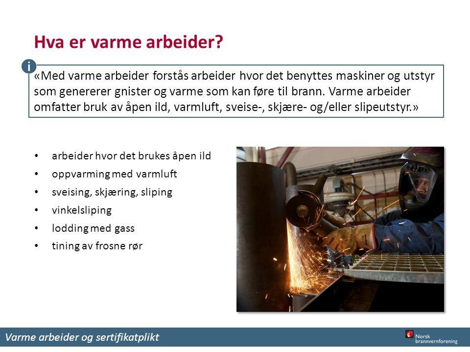 Hva er varme arbeider? arbeider hvor det brukes åpen ild oppvarming med varmluft sveising, skjæring, sliping vinkelsliping lodding med gass tining av