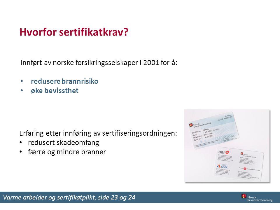 Hvorfor sertifikatkrav? Innført av norske forsikringsselskaper i 2001 for å: redusere brannrisiko øke bevissthet Erfaring etter innføring av sertifise