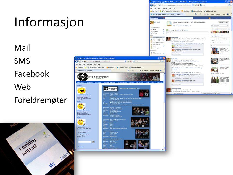 Informasjon Mail SMS Facebook Web Foreldremøter