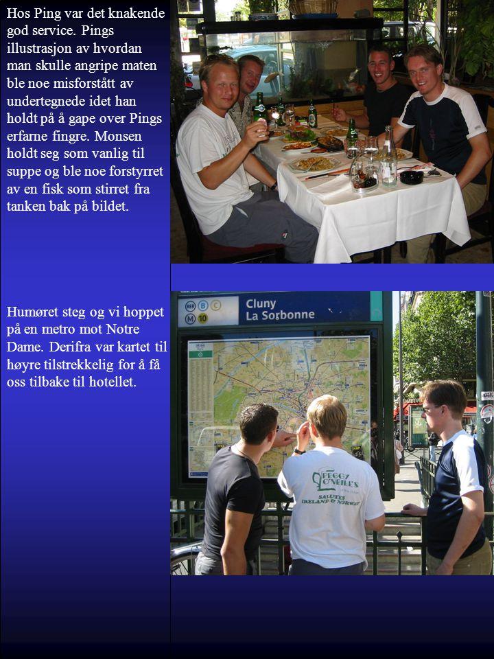 Hos Ping var det knakende god service. Pings illustrasjon av hvordan man skulle angripe maten ble noe misforstått av undertegnede idet han holdt på å