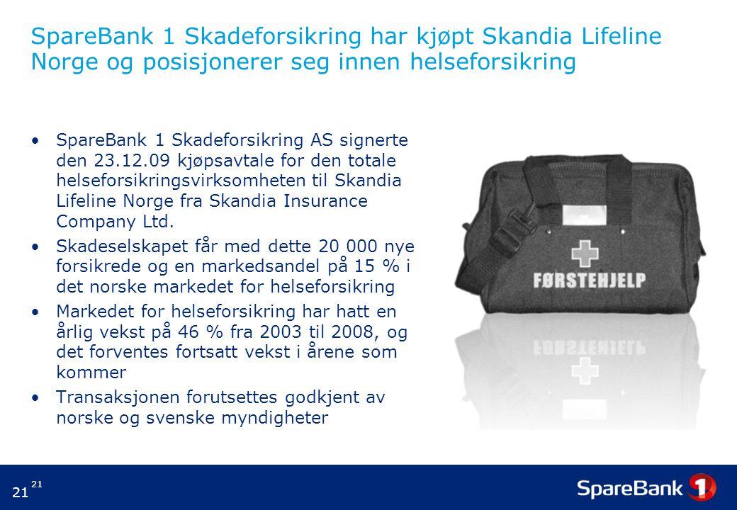21 SpareBank 1 Skadeforsikring har kjøpt Skandia Lifeline Norge og posisjonerer seg innen helseforsikring SpareBank 1 Skadeforsikring AS signerte den 23.12.09 kjøpsavtale for den totale helseforsikringsvirksomheten til Skandia Lifeline Norge fra Skandia Insurance Company Ltd.