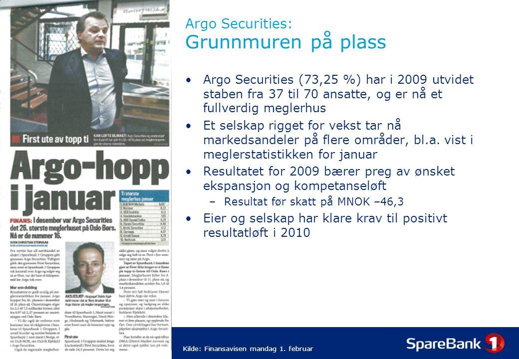 25 Argo Securities: Grunnmuren på plass Argo Securities (73,25 %) har i 2009 utvidet staben fra 37 til 70 ansatte, og er nå et fullverdig meglerhus Et