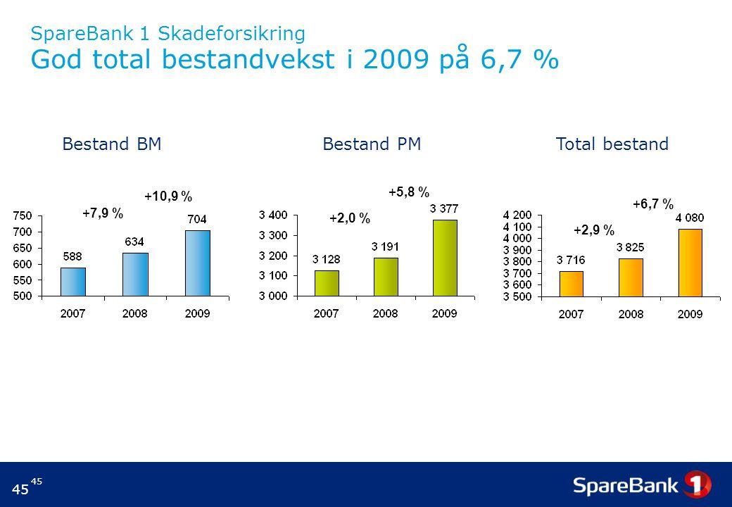 45 SpareBank 1 Skadeforsikring God total bestandvekst i 2009 på 6,7 % +7,9 % +10,9 % +2,0 % +5,8 % +2,9 % +6,7 % Bestand BM Bestand PM Total bestand